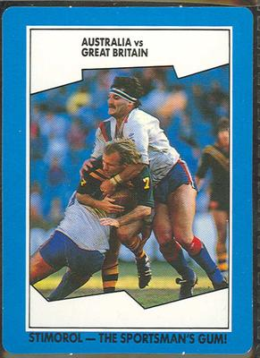 1989 Stimorol Rugby League Australia vs Great Britain trade card