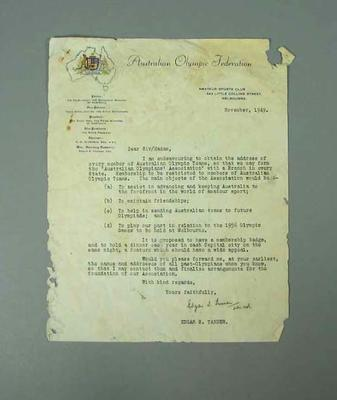Letter from Australian Olympic Federation, regarding formation of Australian Olympians Association - Nov 1949