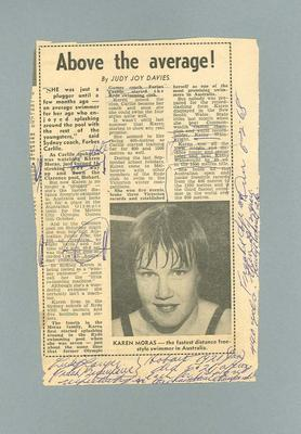 """Newspaper clipping, """"Above the average!"""" - The Sun, 6 Feb 1968; Documents and books; 1985.2.160"""