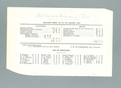 Page from annual report, Melbourne Swimming Club - 1926/27 season