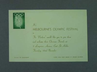 Invitation to a party celebrating 1956 Olympic Games