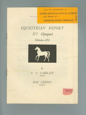 Equestrian report of 1952 Olympic Games
