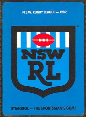 1989 Stimorol Rugby League NSWRL trade card