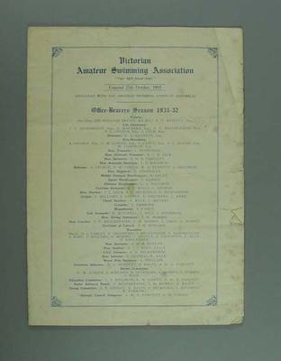 Annual report, Victorian Amateur Swimming Association - season 1920/21