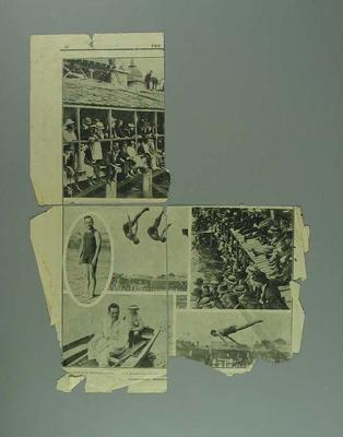 Newspaper clipping, photographs of swimming event - Feb 1920