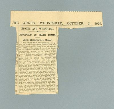 """Newspaper clipping, """"Boxing and Wrestling: Reception to State Teams"""" - The Argus, 2 Oct 1929"""
