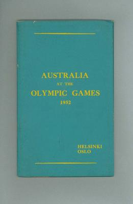 Booklet, Australia at the 1952 Olympic Games