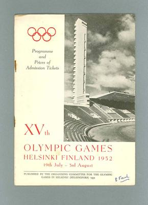 Programme for 1952 Olympic Games