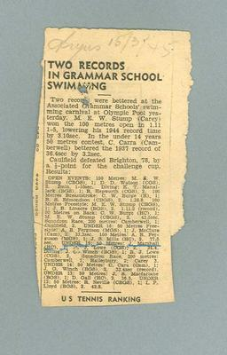 """Newspaper clipping, """"Two records in Grammar School Swimming"""" - The Argus, 15 Mar 1945"""