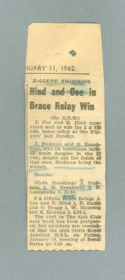 """Newspaper clipping, """"Hind and Coe in Brace Relay Win"""" - 11 Jan 1962"""