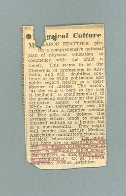 """Newspaper clipping, """"Physical Culture"""" - undated"""