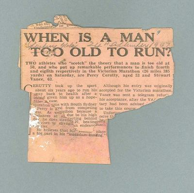 "Newspaper clipping, ""When is a man too old to run?"" - The Sporting Globe, 24 Sept 1947; Documents and books; 1985.2.184"