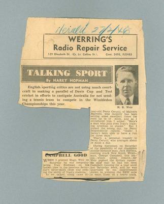 "Newspaper clipping, ""Talking Sport"" - The Herald, 27 Feb 1946"