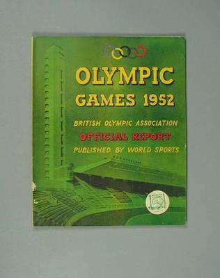 Official Report of 1952 Olympic Games