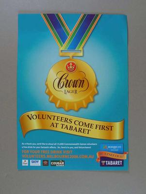 Flyer - 'Volunteers Come First at Tabaret' related to 2006 Commonwealth Games Volunteeers