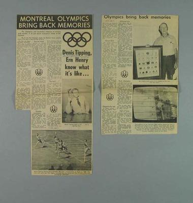 "Newspaper clipping, ""Montreal Olympics Bring Back Memories"" - 1976; Documents and books; 1985.2.196"