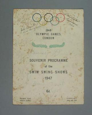 Programme - Swim Swing Show 26 & 27 February 1947, Sydney - fund raiser for 1948 Olympic Games, signed by Sarah 'Fanny' Durack and others