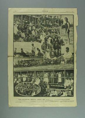"""Newspaper clipping, """"When Beaurepaire Defeated Norman Ross at the V.A.S.A. Championship Carnival at St Kilda"""" - Punch, 5 Feb 1920"""