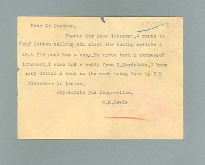 Letter from D M Lewis, addressed to Ivan Stedman - 17 May 1948