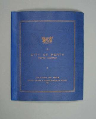 Booklet, Perth's application to host 1962 Commonwealth Games