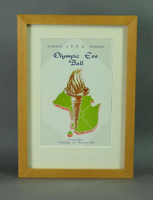 Framed and mounted JYPA Olympic Eve Ball, Invitation No 150