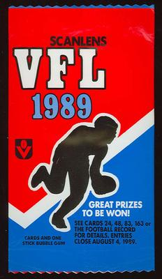 Packet that contained some of the 1989 Scanlans VFL Trade Cards and stick of Stimorol bubble gum