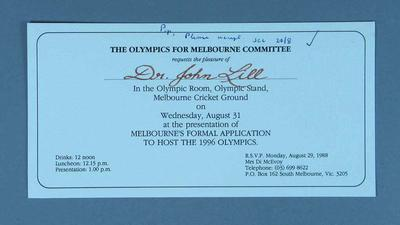 Invitation to Olympics for Melbourne Committee lunch, 31 Aug 1988