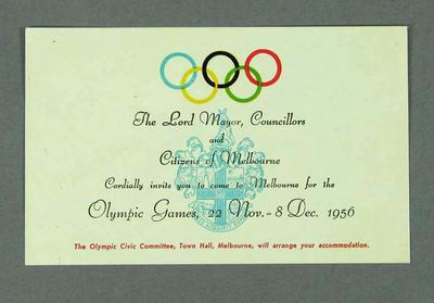 Invitation to 1956 Olympic Games, from Lord Mayor of Melbourne; Documents and books; 1990.2198.12