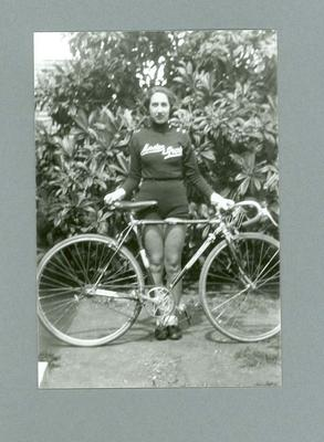 Photograph of Dot Edney [Mansell] holding  her bicycle c. 1930s; Photography; 2006.4509