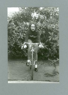 Photograph of Dot Edney [Mansell] sitting astride her bicycle c. 1930s; Photography; 2006.4511