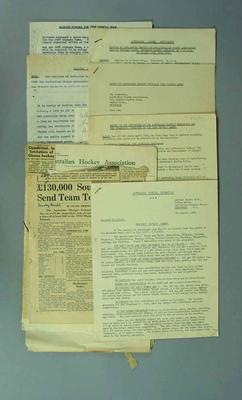 Documents associated with Australian Hockey Association and 1952 Olympic Games; Documents and books; Documents and books; Documents and books; Documents and books; Documents and books; 1987.1627.302