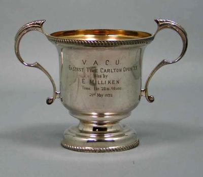 Trophy - V.A.C.U. Fastest Time Carlton Open 33, winner E. Milliken 21/5/39