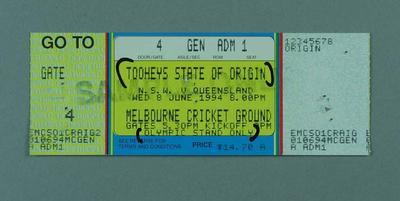 Sample ticket for 1994 State of Origin match at MCG, Olympic Stand