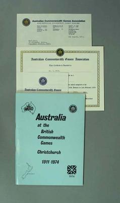 Booklet and certificate, Australia at the 1974 Commonwealth Games