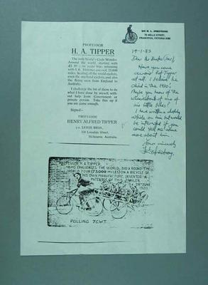 Handwritten letter sent by Ian Armstrong to Sir Rupert Bates 14 January 1983 - article and photograph about Professor H.A. Tipper & Penny Farthing bicycle