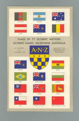 """Pamphlet, """"Flags of 77 Olympic Nations, Olympic Games, Melbourne, Australia""""; Documents and books; 1986.1039.3"""