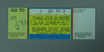 Sample ticket for 1994 State of Origin match at MCG, Olympic Stand; Documents and books; 1994.3079.25