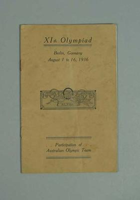 Booklet, Australia at 1936 Olympic Games; Documents and books; 1987.1627.316