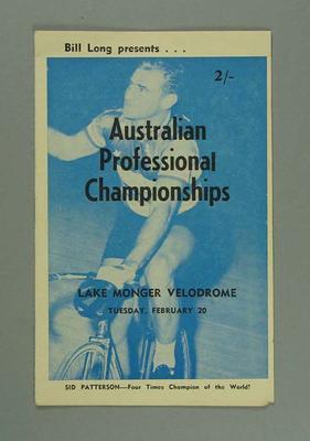 Cycling programme. Australian Professional Championships held at Lake Monger 20 February 1962.