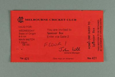 Ticket for 1994 State of Origin match at MCG, Sponsor Box