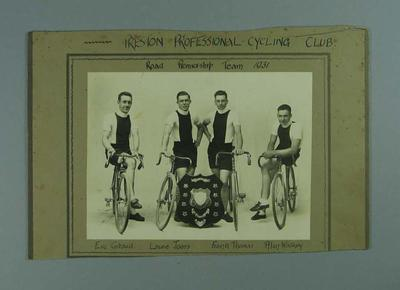 Black and white photograph of the Road Premiership Team from the Preston Professional Cycling Club 1931