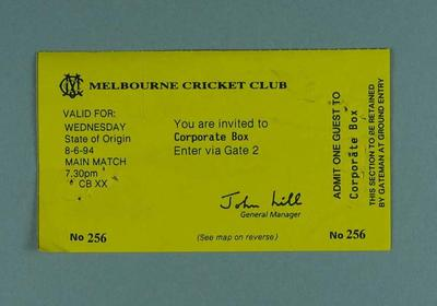 Ticket for 1994 State of Origin match at MCG, Corporate Box