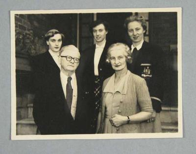Photograph, depicts Winsome Cripps, Shirley Strickland, Verna Johnston and a couple - June 1952