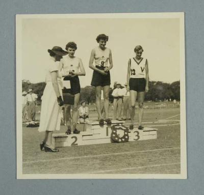 Photograph of Marjorie Jackson, Marlene Mathews and Winsome Cripps - Australian Women's Track & Field Championships, Perth 1954