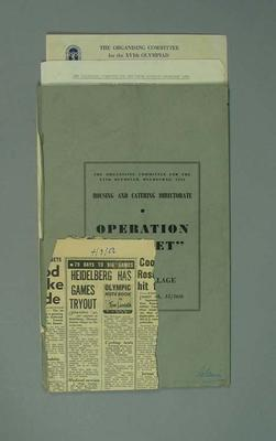 Documents relating to 1956 Olympic Games practice runs, September 1956