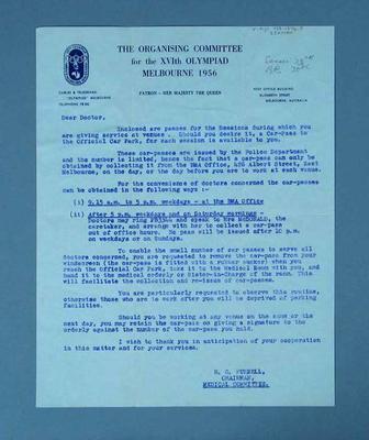 Letter regarding access to car passes for 1956 Olympic Games