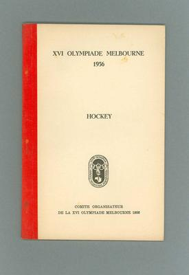 Programme, 1956 Olympic Games hockey events (printed in French)