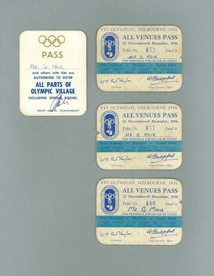 Passes used by George Moir during 1956 Olympic Games
