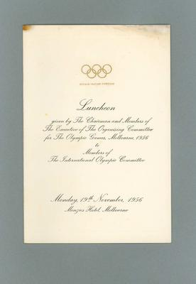 Menu for 1956 Olympic Games Organising Committee luncheon, 19 November 1956