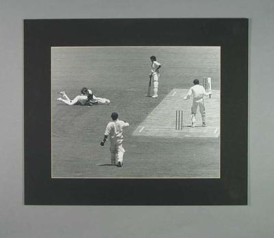 Photograph of Jeff Thomson colliding with Alan Turner, Australia v Pakistan Test - Adelaide, Dec 1976